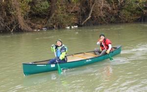 Val racing in canoe